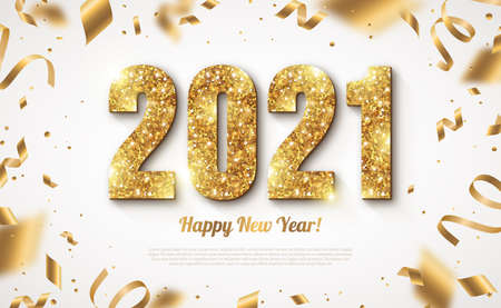 Happy New Year Banner with Gold 2021 Numbers on Bright Background with Flying Confetti and Streamers. Vector illustration