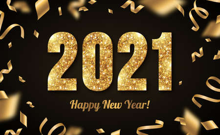 Happy New Year Banner with Gold 2021 Numbers on Black Background with Flying Confetti and Streames. Vector illustration
