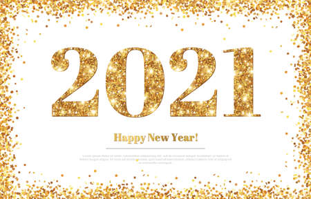 Happy New Year 2021 Greeting Card with Gold Numbers and Confetti Frame on White Background. Vector Illustration. Merry Christmas Flyer or Poster Design