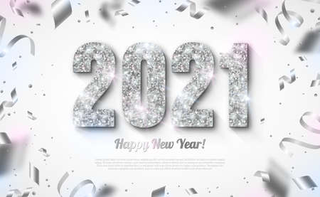 Happy New Year Banner with Silver 2021 Numbers on Bright Background with Flying Confetti and Streamers. Vector illustration Illustration