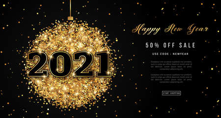 Happy New Year 2021 Greeting Card with Numbers. Christmas Ball with Texture of Golden Dust on White Background. Vector Illustration.