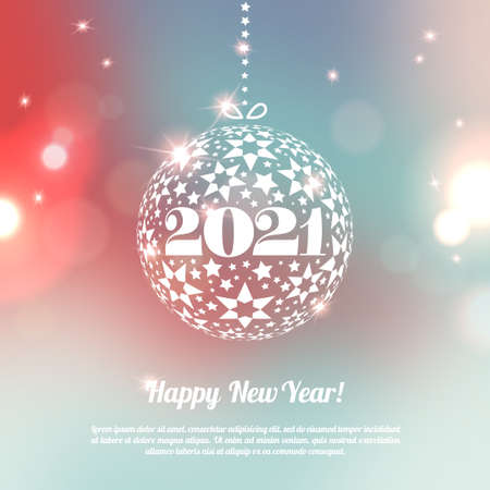 New Year 2021 Greeting Card with ball in minimalistic style. Colorful bokeh abstract background with circles of light. Invitation with place for text message. Vector illustration.