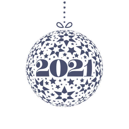 New Year 2021 with Christmas ball in minimalistic style isolated on white background. Template for Invitation with place for text message. Vector illustration.