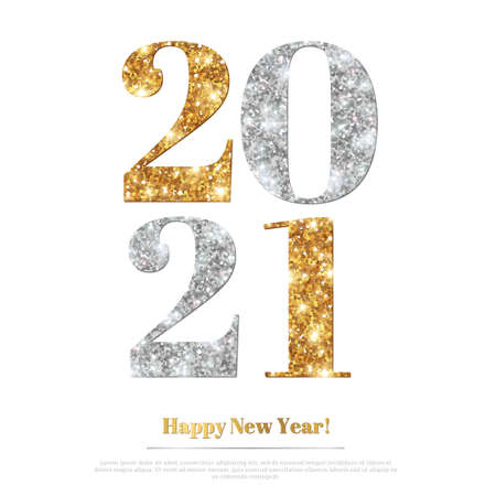 Happy New Year 2021 Greeting Card with Gold and Silver Numbers. Vector Illustration. Merry Christmas Flyer Design, Brochure Cover, Poster, Minimalistic Invitation 矢量图像