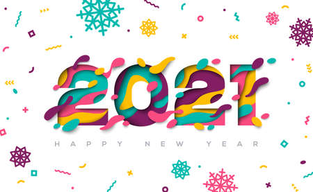 Happy New Year 2021 typography design with abstract paper cut shapes and confetti with snowflakes. Vector illustration. 矢量图像