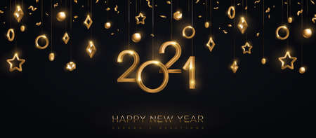 2021 gold numbers with stars and baubles hanging on black background. Vector illustration. Minimal invitation design for Christmas and New Year. Winter holiday decorations
