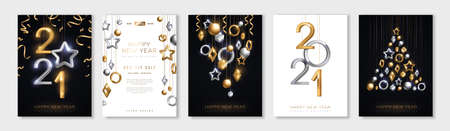 Christmas and New Year posters set with hanging gold and silver 3d baubles and 2021 numbers. Vector illustration. Winter holiday invitations with geometric decorations 矢量图像