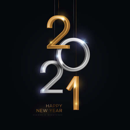 2021 silver and gold numbers hanging on black background. Vector illustration. Minimal invitation design for Christmas and New Year. 矢量图像