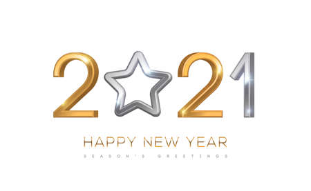 2021 silver and gold numbers with star hanging on white background. Vector illustration. Minimal invitation design for Christmas and New Year.