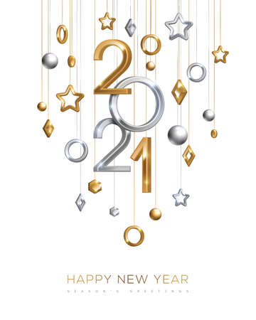 Christmas and New Year banner with hanging gold and silver 3d baubles and 2021 numbers on white background. Vector illustration. Winter holiday geometric decorations