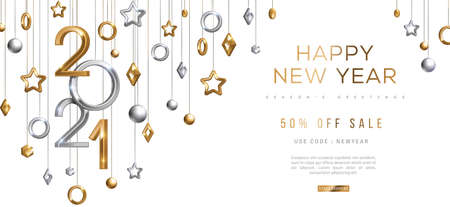 Christmas and New Year banner with hanging gold and silver 3d baubles and 2021 numbers on black background. Vector illustration. Winter holiday geometric decorations 矢量图像
