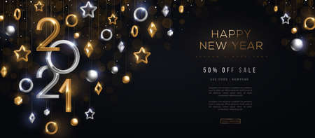2021 silver and gold numbers with crystal baubles hanging on black background. Vector illustration. Minimal invitation design for Christmas and New Year. Winter holiday decorations