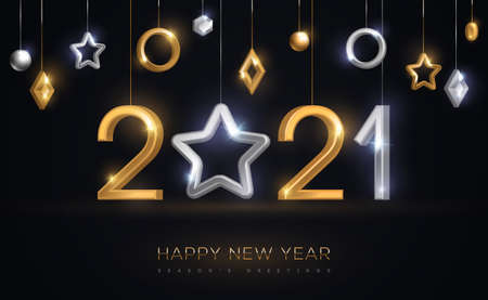 2021 silver and gold numbers with star hanging on black background. Vector illustration. Minimal invitation design for Christmas and New Year. Winter holiday decorations.