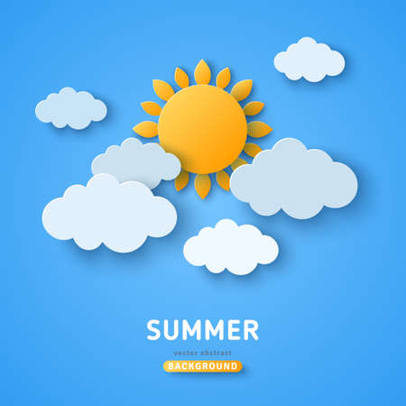 Summer day concept vector illustration. Cloudscape, blue sky with clouds and sun. Paper cut style. Place for text
