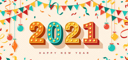 Happy New Year 2021 card or banner with typography design. Vector illustration with retro light bulbs font, streamers, confetti and hanging baubles.