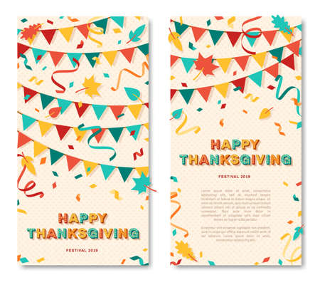 Happy Thanksgiving vertical card or banner with typography design. Vector illustration with retro light bulbs font, streamers, confetti and hanging flag garlands 矢量图像
