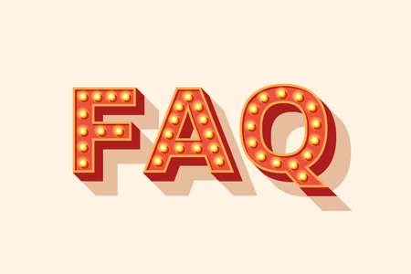 FAQ vector lettering, red typography with light bulbs. Signboard banner, design element. Casino style text isolated on white background. Concept for frequently asked questions, instructions and rules