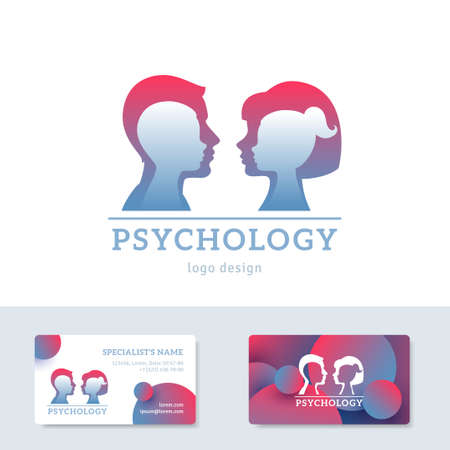 Human head with inner child inside. Vector illustration. Psychology logo concept. Man and woman silhouettes for psychotherapy design. Business cards template with place for text