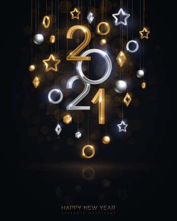 2021 on black background 矢量图像