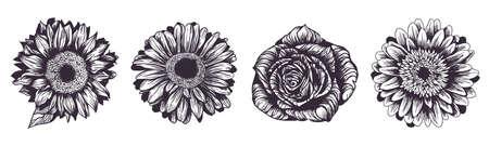 Sunflower, rose and gerbera