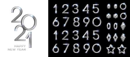 3d silver numbers set
