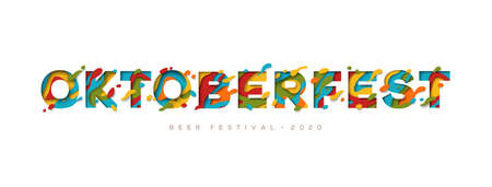Octoberfest papercut banner. Colorful lettering with paints stains. Watercolor splash front cutout. German beer festival creative poster. Autumn season traditional holiday, fall 2020 festival