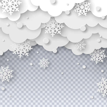 Falling snow paper cut 矢量图像