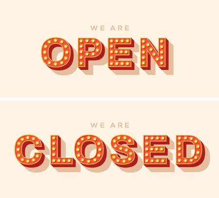 We are open, close lettering