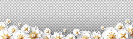 White spring flowers isolated