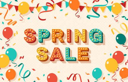 Spring sale retro banner typography design Ilustração