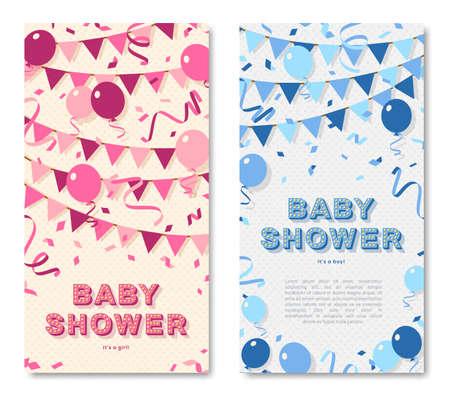 Baby shower vertical cards design