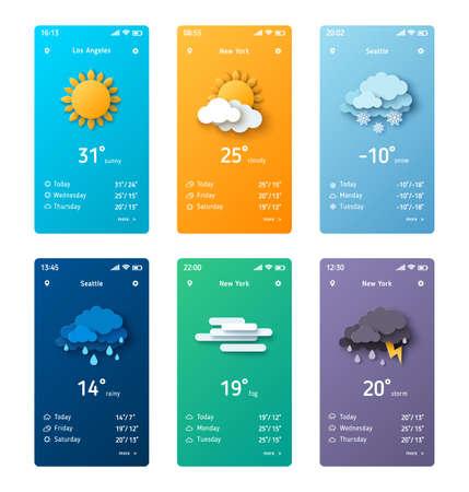 Weather application template Ilustração
