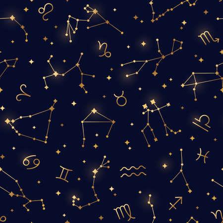 Gold zodiac pattern Ilustração