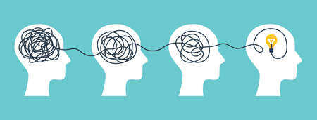 Brain with tangled knot Ilustração