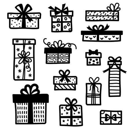 Set of doodle gift boxes Ilustração