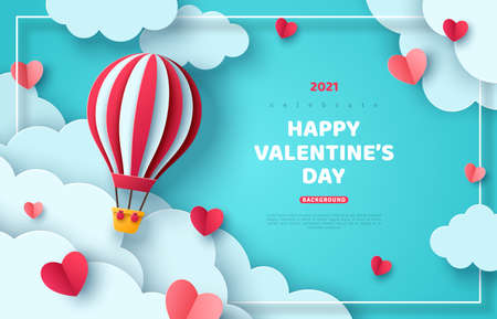 Hot air balloon floating in blue sky and paper cut clouds. Romantic adventure for honeymoon or wedding invitation design. Place for text. Happy Valentines day sale brochure template with cute hearts. Vetores