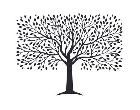 Olive tree silhouette isolated on white background. Vector illustration. Premium quality extra virgin oil, nature logo