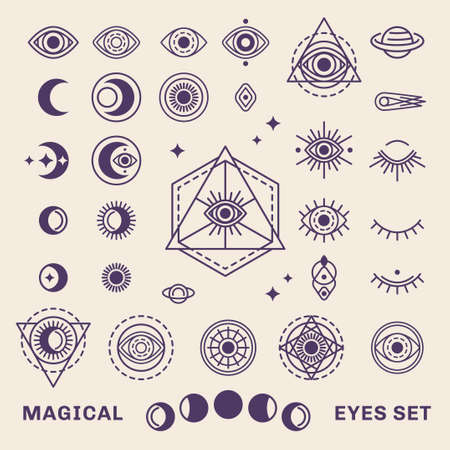 Sacred Geometry Forms with Moon and Sun. Vector illustration. Geometric Logo Design, Alchemy Symbol, Occult and Mystic Sign Isolated on White Background. Illustration