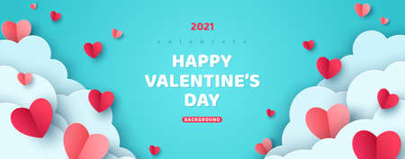 Horizontal banner with paper cut clouds and flying hearts in blue sky, papercut craft art. Place for text. Happy Valentines day sale concept, voucher typography template.