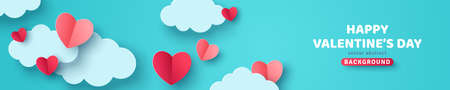 Horizontal banner with blue sky and paper cut clouds. Place for text. Happy Valentines day sale header or voucher template with hearts. Vectores