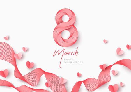 March 8 symbol in 3d retro line art style with flying paper hearts. International Womens day pink background. Vector illustration for poster, flyer, voucher or brochure template. Place for text.