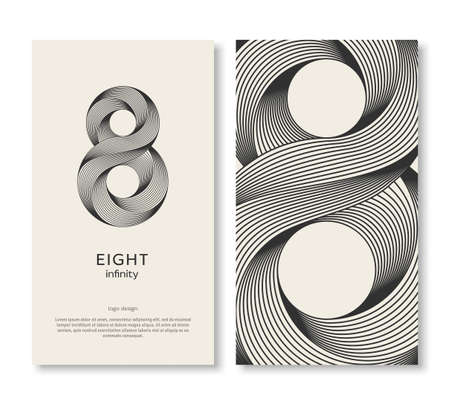 Business card template with eight and strip pattern. Vector illustration. Corporate icon minimal design, place for text. Trendy retro 3d graphic style. 8 geometric outline emblem, infinite lines