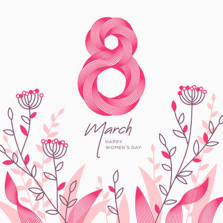 March 8 symbol in 3d retro line art style with hand drawn spring doodle flowers. International Womens day banner. Vector illustration for invitation, poster, flyer, voucher or brochure template. 矢量图像