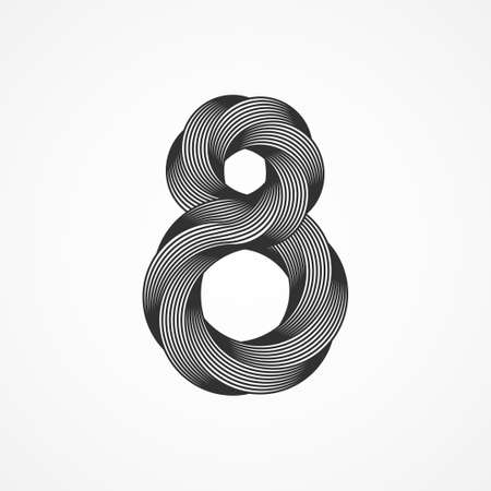 Minimalistic black eight shape, trendy retro 3d graphic style. Vector illustration. 8 geometric emblem template design isolated on white background. Simple creative number icon. Infinite lines. 矢量图像