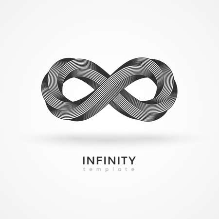 Infinity symbol isolated on white background. Vector illustration. Endless black geometric loop, minimal design template. Eight shape in trendy retro 3d graphic style