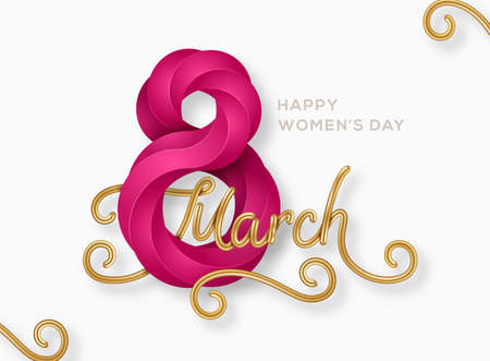March 8 purple symbol 3d art style with glittering gold calligraphy. International Womens day poster. Vector illustration for greeting card, flyer, voucher or brochure template. Place for text.