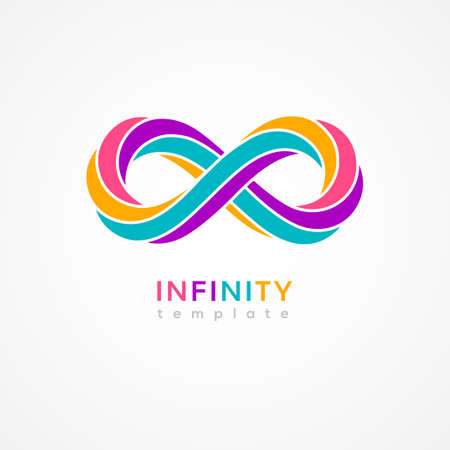 Infinity colourful symbol isolated on white background. Vector illustration. Endless concept loop,  minimal design template. Eight shape in trendy retro 3d graphic style 矢量图像