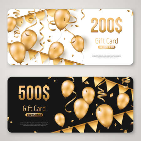 Happy Birthday gift card set template. Sale voucher layout. Vector Illustration. Golden foil confetti, 3d realistic glitter gold balloons and buntings on black and white background.