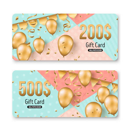 Happy Birthday gift card set template. Sale voucher layout. Vector Illustration. Golden foil confetti, 3d realistic glitter gold balloons and buntings on geometric funny background 矢量图像