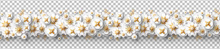 Spring seamless border with white paper cut flowers and golden leaves isolated on bright background. Vector illustration. Cute design for posters, brochures or vouchers, wedding save the date cards. 矢量图像